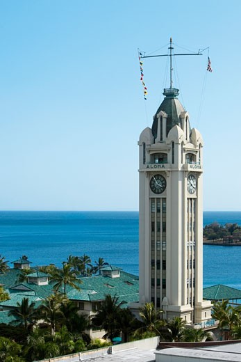 Tower on the island, Aloha Tower, Honolulu, Oahu, Hawaii Islands, USA : Stock Photo