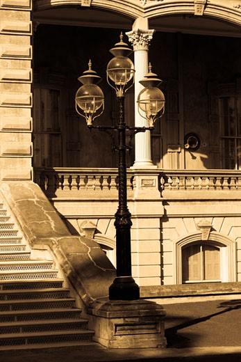 Stock Photo: 1663R-28862 Lamppost in front of a government building, State Capitol Building, Iolani Palace, Honolulu, Oahu, Hawaii Islands, USA