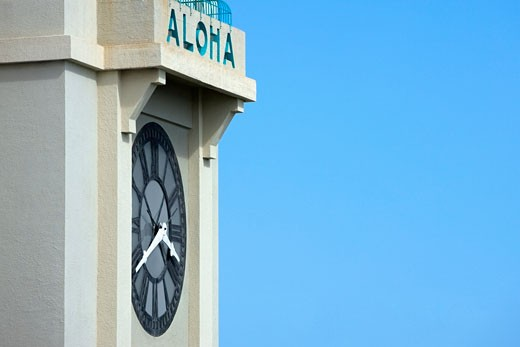 Stock Photo: 1663R-28877 High section view of a clock tower, Hawaii Islands, USA