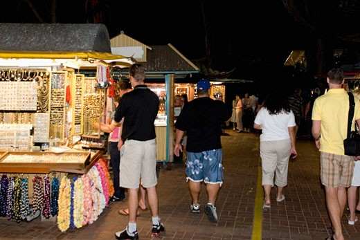 Stock Photo: 1663R-29137 Group of people in a market, Waikiki Beach, Honolulu, Oahu, Hawaii Islands, USA