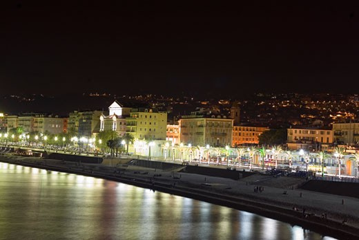 Stock Photo: 1663R-29358 Buildings lit up at night, Nice, France