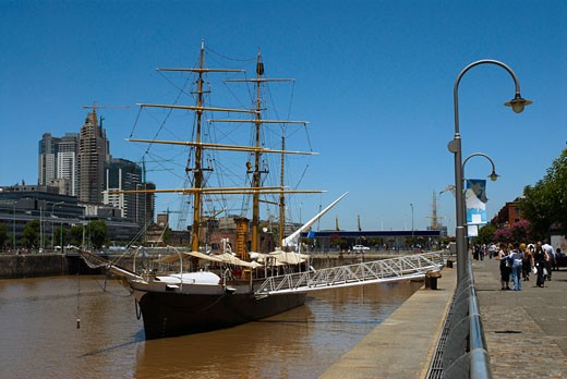Tall ship in the sea, Corbeta Uruguay, Puerto Madero, Buenos Aires, Argentina : Stock Photo