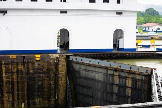 Building near a dam, Miraflores Locks, Panama Canal, Panama : Stock Photo