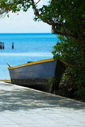 Boat at the seaside, Providencia y Santa Catalina, San Andres y Providencia Department, Colombia : Stock Photo