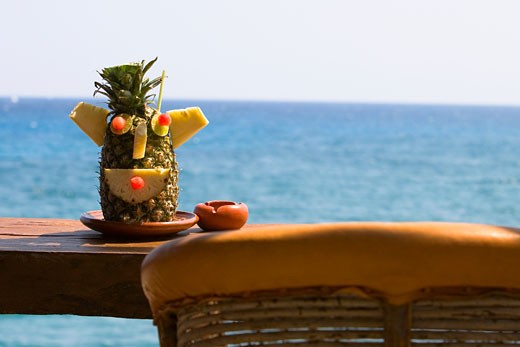 Decorated pineapple on a plate, Cancun, Mexico : Stock Photo