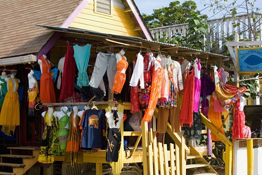 Clothes hanging at a market stall, West End, Roatan, Bay Islands, Honduras : Stock Photo