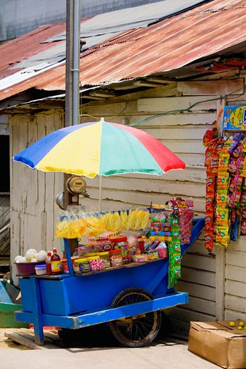 Market stall in front of a building, Coxen Hole, Roatan, Bay Islands, Honduras : Stock Photo