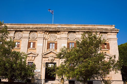 Stock Photo: 1663R-30048 Low angle view of a government building, Rhodes, Dodecanese Islands, Greece