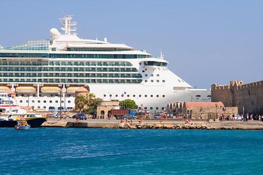 Stock Photo: 1663R-30088 Cruise ship at a harbor, Mandraki Harbor, Rhodes, Dodecanese Islands, Greece