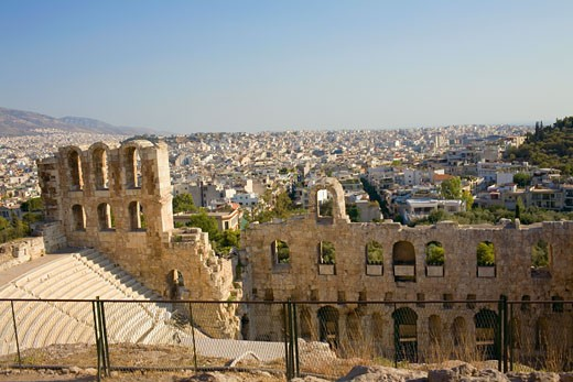 Stock Photo: 1663R-30108 High angle view of the old ruins of an amphitheater, Theater Of Herodes Atticus, Acropolis, Athens, Greece