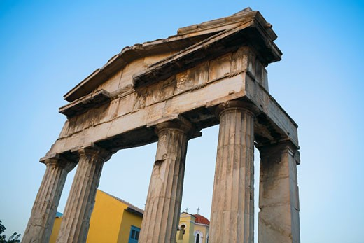 Low angle view of the old ruins, Athens, Greece : Stock Photo