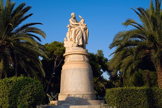Low angle view of a statue in a garden, National Garden, Athens, Greece : Stock Photo