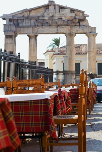 Stock Photo: 1663R-30181 Sidewalk cafe in front of the old ruins, Roman Agora, Athens, Greece