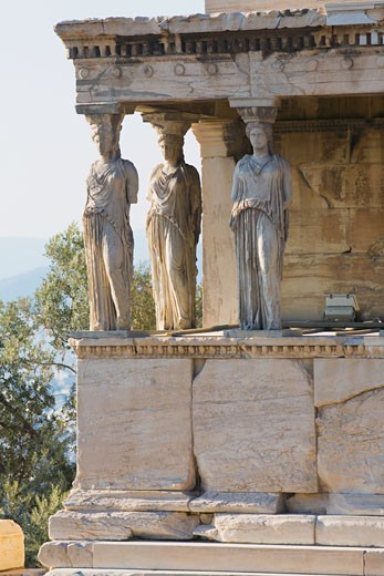 Statues in a temple, The Erechtheum, Acropolis, Athens, Greece : Stock Photo