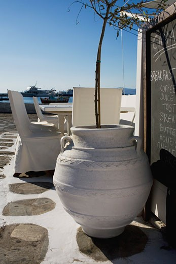 Stock Photo: 1663R-30374 Decorative urn in a restaurant, Mykonos, Cyclades Islands, Greece