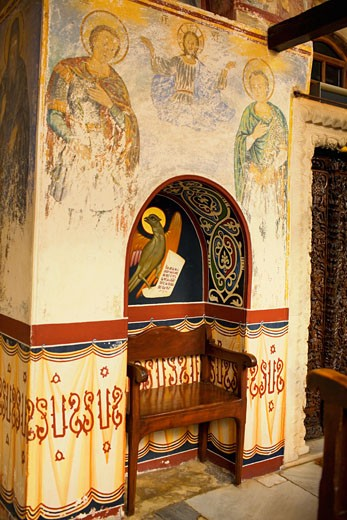Mural on the wall of a church, Monastery of St. John the Divine, Patmos, Dodecanese Islands, Greece : Stock Photo