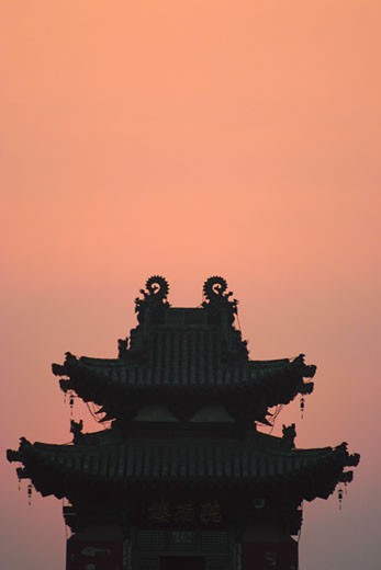 Stock Photo: 1663R-30672 High section view of a pagoda, China