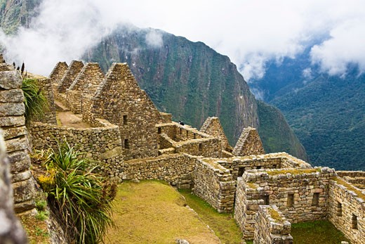 High angle view of ruins on mountains, Machu Picchu, Cusco Region, Peru : Stock Photo
