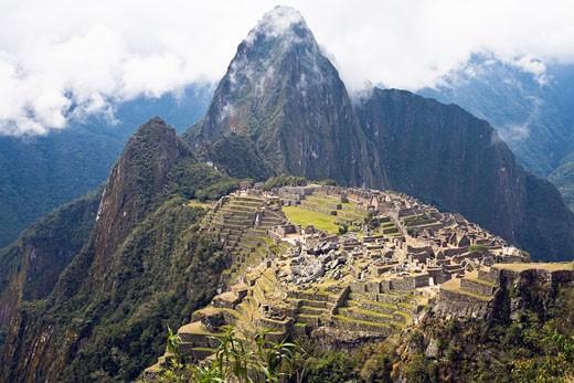 High angle view of ruins on mountains, Machu Picchu, Cusco Region, Peru : Stock Photo