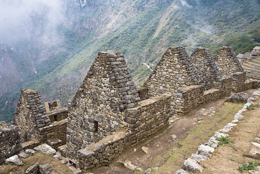Stock Photo: 1663R-31101 High angle view of ruins on mountains, Machu Picchu, Cusco Region, Peru