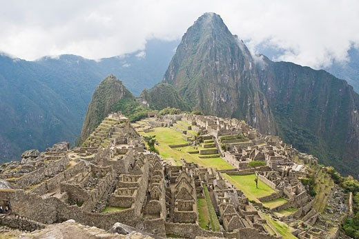 Stock Photo: 1663R-31132 High angle view of ruins on mountains, Machu Picchu, Cusco Region, Peru