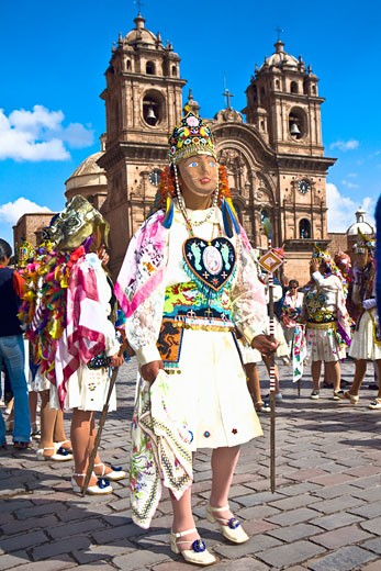 Stock Photo: 1663R-31362 Group of women wearing traditional costumes and standing in front of a church, Peru