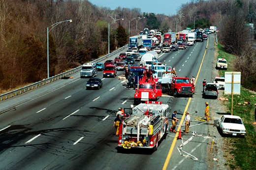 Traffic accident on 495 Beltway, Bethesda, Maryland : Stock Photo