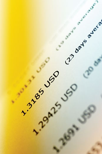 Stock Photo: 1663R-31730 Close-up of stock market data