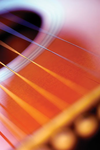Stock Photo: 1663R-32409 Extreme close-up of guitar strings