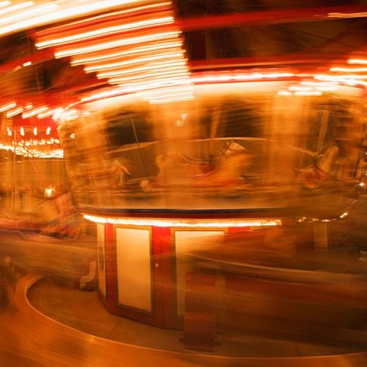 Close-up of a carousel at night, California, USA : Stock Photo