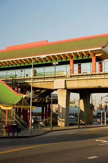 Low angle view of a rail stop in a city, China Town, Los Angeles, California, USA : Stock Photo