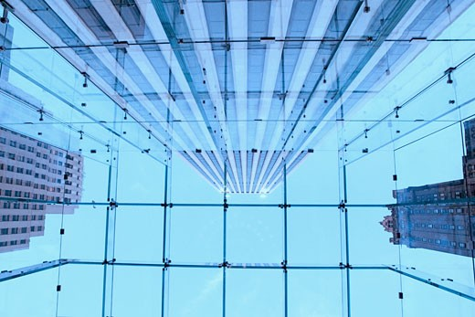 Low angle view of a glass ceiling : Stock Photo