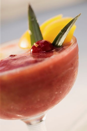 Stock Photo: 1663R-33939 Close-up of watermelon juice in a stem glass
