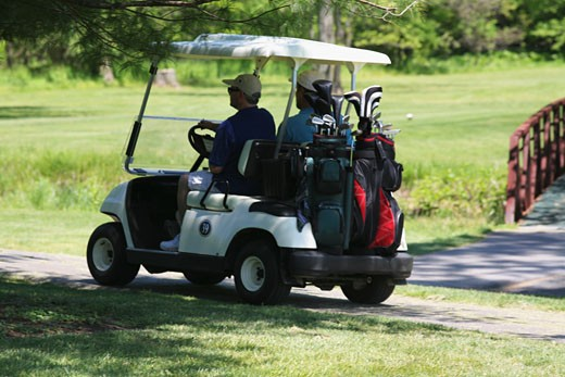 Rear view of two men on a golf cart : Stock Photo