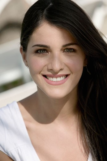 Stock Photo: 1663R-34604 Portrait of a young woman smiling