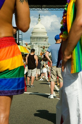 Stock Photo: 1663R-35570 Gay parade in front of a building, Capitol Building, Washington DC, USA