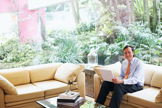 Portrait of a businessman sitting on a couch with a laptop : Stock Photo