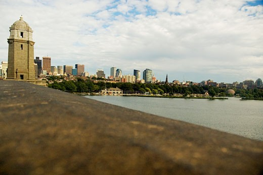 Stock Photo: 1663R-37192 High angle view of a bridge, Longfellow Bridge, Esplanade, Boston, Massachusetts, USA