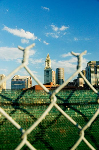 Close-up of a fence in front of buildings in a city, Boston, Massachusetts, USA : Stock Photo