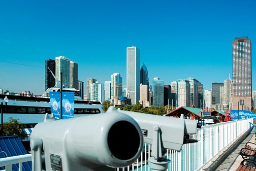 Close-up of telescopes facing a city, Lake Michigan, Navy Pier, Chicago, Illinois, USA : Stock Photo