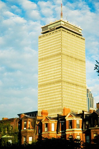 Low angle view of buildings in a city, Prudential Tower, Boston, Massachusetts, USA : Stock Photo