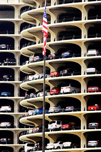 Low angle view of a building, Marina City Complex, Chicago, Illinois, USA : Stock Photo