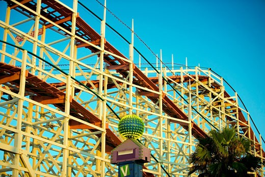 Low angle view of the framework of a rollercoaster, San Diego, California, USA : Stock Photo