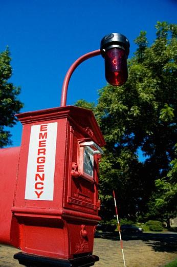 Close-up of an emergency station, Boston, Massachusetts, USA : Stock Photo
