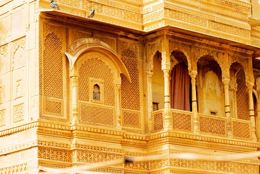 Low angle view of an ornate balcony, Jaisalmer, Rajasthan, India : Stock Photo
