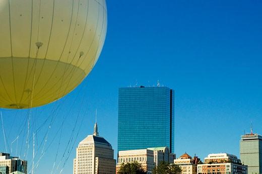 Hot air balloon in front of buildings, Boston, Massachusetts, USA : Stock Photo