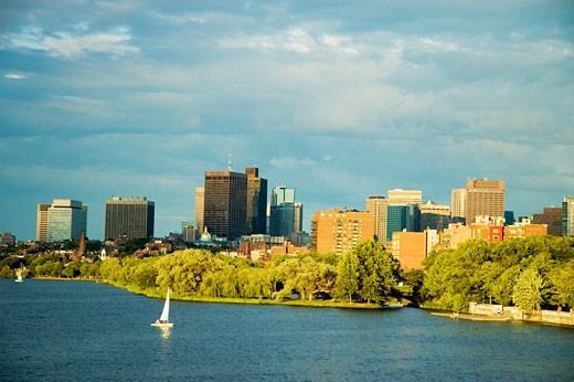 Stock Photo: 1663R-38669 Sailboat on a river, Charles River, Esplanade, Boston, Massachusetts, USA