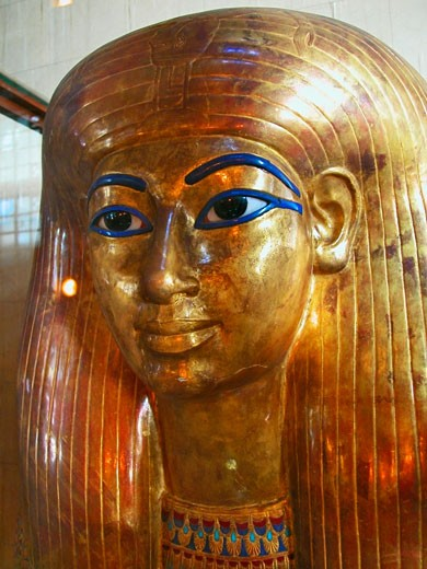 Close-up of a golden statue, Cairo, Egypt : Stock Photo