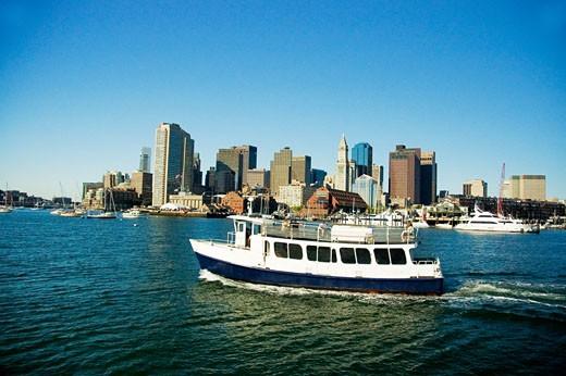 Stock Photo: 1663R-38799 Passenger ships in the river, Boston Harbor