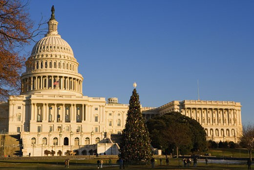 Stock Photo: 1663R-38968 Facade of a government building, Capitol Building, Washington DC, USA